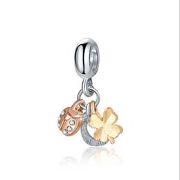 $enCountryForm.capitalKeyWord UK - Wholesale Fit Sterling Silver Bracelet Charm Beads Four Leaf Clover Ladybug Horseshoe Pendant For Women Pandora Bracelet Bangle Diy Jewelry