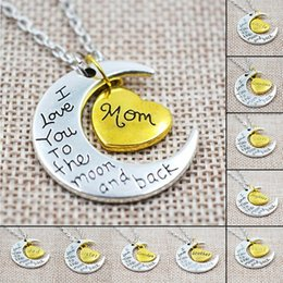 $enCountryForm.capitalKeyWord Australia - I Love You To The Moon And Back Pendant Necklace Moon Necklaces For Couple Lovers Gift Bijoux Vintage Silver Gold Choker Collier