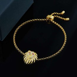 lion charms for bracelets UK - Lovely Women Bracelet High Quality Yellow Gold Plated CZ Lion Bracelets for Girls Women Nice Gift