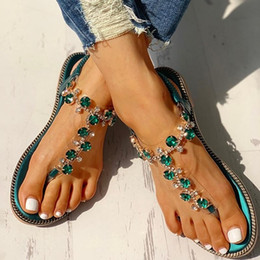$enCountryForm.capitalKeyWord Australia - 2019 Women New Summer Fashion Diamond Flat Slippers Shiny Crystal Sandals Open Toe Bohemian Beach Shoes