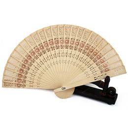 Woman Fans Australia - Chinese Original Wooden Carved Hand Fan Folding Bamboo Wedding Bridal Party Fan Hot Sale Party decor Women