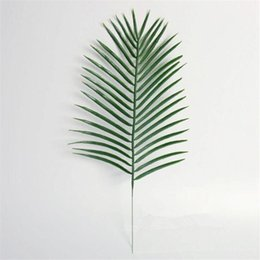 $enCountryForm.capitalKeyWord Australia - 15pcs Artificial Plastic Leaves Green Plants Fake Palm Tree Leaf Greenery for Floral Flower Arrangement Wedding Home Decoration