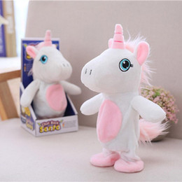 $enCountryForm.capitalKeyWord Australia - Smart Unicorn Plush Doll Stand Walking Learn Speaking Electric Toys Pink Fluffy Tail Boys Girls Soothe Birthday Stuffed PP Cotton Soft Doll
