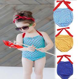 Discount children swimming suits wholesale - Baby romper swimwear children kids girls dot swimsuit bathing suit beachwear 1-5T baby girls swimming suit