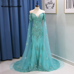 $enCountryForm.capitalKeyWord Australia - Mint Green Mermaid Evening Dress with Cape Sleeves 2019 Long Off Shoulder Lace Appliques Crystal Arabic Prom Dresses Party Gowns