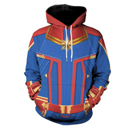 women superhero halloween costumes 2020 - Unisex Captain Marvel Cosplay Costume Carol Danvers Superhero Hoodie Halloween Costumes