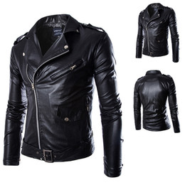mens british leather jackets NZ - Mens PU Leather Jackets Spring Autumn British Style Men Leather Jacket Fashion Motorcycle Jacket Male Coat Black White M-4XL