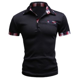 Discount mens slim fit polos - 2017 Fashion Brand Men Polo Shirt Solid Short -Sleeve Slim Fit Polo Mens Embroided Shirt Men Polo Shirts Casual Camisa P