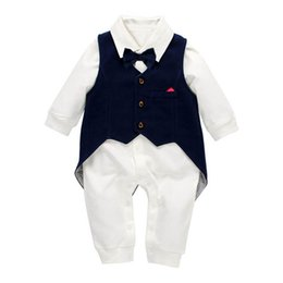 Long Tailed Tutus Australia - baby boy clothes swallow-tailed coat vest+baby romper 2pcs Newborn Romper Infant Outfits boys One Piece Clothing Boy Rompers Jumpsuit