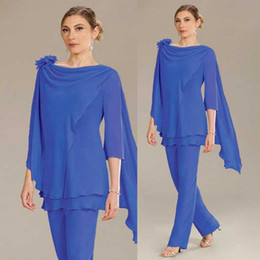 $enCountryForm.capitalKeyWord Australia - 2020 Ursula Mother of the Bride Pant Suits Royal Blue Long Sleeve Wedding Guest Dress Plus Size Women Formal Outfit