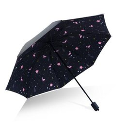 bumbershoot umbrella UK - Flamingo All Weather Umbrella Ultraviolet Proof Sunshade Tri Folded Bumbershoot Thick Rod Summer Sombrilla Portable for men NT