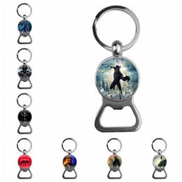 $enCountryForm.capitalKeyWord NZ - The Avengers Black Pan Couple key chain and Bottle opener Bell Car Key Holder Acrylic Bell Anime Key Chain Bag Pendant Bts Accessories