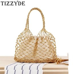 Hand Hooked Bag Australia - Summer New Solid Color Gold and Silver Thread Hand Hook Woven Bag Tide Female Sen Portable Straw Bag Beach Bucket ZCY895