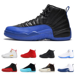 White suede shoes for men online shopping - 12 s Basketball shoes for men Game Royal triple black Gym red Flu game GAMMA BLUE the master mens Sports Sneakers size