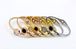 $enCountryForm.capitalKeyWord Australia - Bracelet Designer Bracelet Rome Digital Beibei Black White Titanium Steel Rose-plated Gold Bracelet Opening Lady Luxury Fashion Accessories