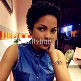 Virgin Brazilian Tight Curly Australia - Brazilian virgin Hair New Tight Afro Kinky Curly Celebrity short Wigs With Baby Hair Wigs Short Pixie Human Hair Pixie wigs for Black
