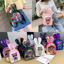 $enCountryForm.capitalKeyWord Australia - 10 styles Girl Cartoon Rabbit Ear backpack Women Sequined shoulder bag School Bags Children Embroidery Anime Small back bag DHL JY396