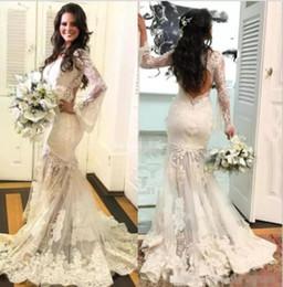 $enCountryForm.capitalKeyWord Australia - New Designer White Ivory Lace Appliques Wedding Dress 2019 Open Back Mermaid Bridal Ball Gown Vintage Plus Size wedding dress