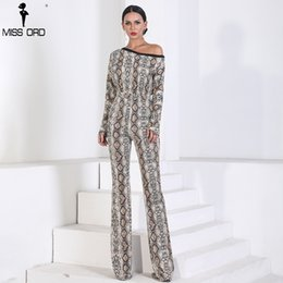 Long Jumpsuits Xs Australia - Missord 2019 Sexy Long Sleeve off shoulder snake jumpsuit print Elegant Playsuit FT9721