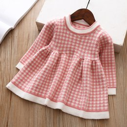 Dressing Baby For Winter Australia - Children Winter Dress For Girls Baby Underwear Dress Kids Autumn Knitted Clothes Thick Dresses Teen High Quality Christmas Cloth Y19061101