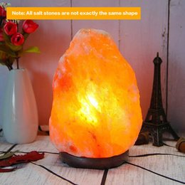 salt lamp wholesale Australia - BRELONG BR-0010 Himalayan crystal salt rock lamp gift table lamp night light natural shape with wooden bottom dimmer switch line