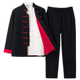 Wholesale traditional chinese men s suits resale online - Three piece Set Chinese Style Tang Suit Traditional Tai Chi Clothing Kung Fu Single breasted Martial Arts Clothing Unisex for Men Women