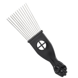 $enCountryForm.capitalKeyWord Australia - Metal Afro Comb African American Pick Comb Hair Brush Hairdressing Styling Tool Black Fist W4955-2