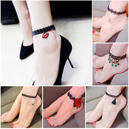 Discount simple chain anklets - 15 Sexy Anklet Foot Chain Simple Women Ankle Chain Bracelet Summer Beach Black Lace Foot Jewelry barefoot Sandals Bracel