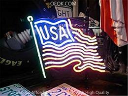 $enCountryForm.capitalKeyWord Australia - 17X14 Inches USA Flag Real Glass Neon Sign Beer Bar Pub Light Handmade Artwork BEST GIFT Fast Shipping