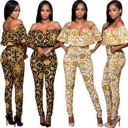 Night Club Jumpsuits For Women Australia - Elegant Jumpsuits For Women Summer Pencil Pants One Piece Female Printed Night Club Party Bodycon Jumpsuits