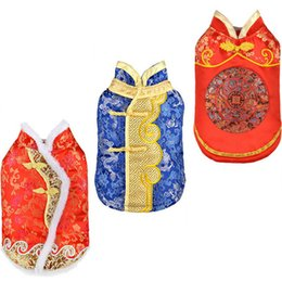 dot costumes Australia - Pet Dog Clothes Chinese New Year Dog Costume For Dogs Suit Chinese Cheongsam Dogs Pets Clothing Large Pet Coat Jackets Wholesale