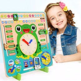 teaching aids for year UK - Wooden Toys Baby Weather Season Calendar Clock Time Cognition Preschool Education Teaching Aids Toys for Children