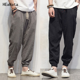 gold harem trousers Canada - Plus Size Cotton Linen Harem Pants Mens Jogger Pants New Male Casual Track Trousers Hip Hop Loose Chinese Traditional