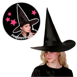 Discount creative costumes for adults Halloween Party DIY Creative 1Pcs Adult Womens Black Witch Hat For Costume Accessory Ornament Gifts Decorations for Part