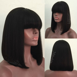 $enCountryForm.capitalKeyWord Australia - 130% density silk top full lace human hair wigs with baby hair lace front human hair wigs natural hairline with bangs bleached knots