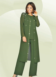 armies suit color Australia - 3 Pieces 2019 Chiffon Mother Of The Bride Pant Suits Jewel Long Sleeves Army Green Plus Size Mother Dress Evening Party Gowns Cheap