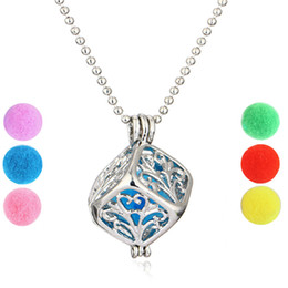 "$enCountryForm.capitalKeyWord Australia - Hot Sale Magical Aromatherapy Diffuser Necklace Square Box Locket Pendant Fashion Jewelry With 23.62"" Chain+6Pcs Color Refill Balls B401Q F"
