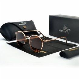 Опт 2018 Марка старинные круглые черные солнцезащитные очки Женщины мужчины Золотая рамка солнцезащитные очки женские мужские ретро очки для вождения uv400 FML