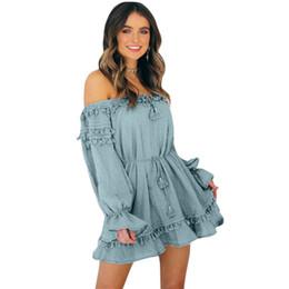 $enCountryForm.capitalKeyWord Australia - Women Summer Beach Dress Solid Color Off Shoulder Long Sleeve Elegant Ladies Dress Tie Bandage Tassel High Waist Vacation Wear