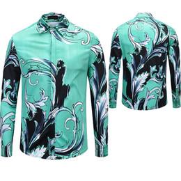 Leisure Shirt Free Shipping NZ - Free shipping fashion Brand men\'s shirt 2018 New medusa Leisure Mens 3D Long sleeve shirt Medusa Gold Floral Print Men Luxury Shirts M-XXL