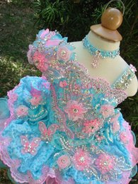 withe dresses NZ - Gorgeous Baby Girls Glitz Beaded Pageant Cupcake Gowns Withe Flowers Infant Mini Short Skirts Toddler Girls Soft Lace Pageant Dresses