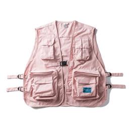 Wholesale black multi pocket vest resale online - Multi Pockets Hip Hop Vest Men Hi end Fashion Solid Color Buckle Men s Vest Colors tactical streetwear