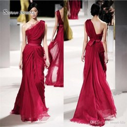 Discount celebrities lace maxi dress - 2019 Long Evening Celebrity Dresses Lace One Shoulder Chiffon Sash A-Line Maxi Dress Formal Prom Gown
