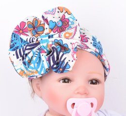 $enCountryForm.capitalKeyWord Australia - 6 colors baby hairbands new style print knitted big bow hair accessories baby girls infant hairbands Newborn Baby Headband 6 pces