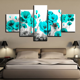 oil painting blue flowers panels Australia - 5 pieces canvas painting Black and white blue flower Picture wall picture art canvas posters wall art Painting home decoration