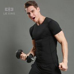 Wholesale plain slim fit t shirt online – design Slim fit short sleeved MENS SPORT T shirt round neck gym clothes plain RUNNING T SHIRT quick dry