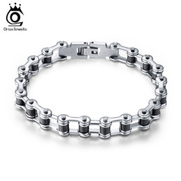 Wholesale Chain Motors NZ - Top Quality Men's Motor Bike Chain Motorcycle Chain Bracelet Bangle 316L Stainless Steel Jewelry with Silicone KKA3517