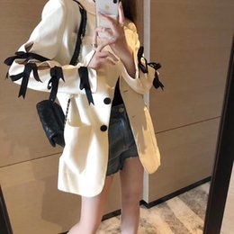 new designs ladies blazers NZ - [EWQ] 2020 Autumn New Bowknot Design Long-sleeved Loose Blazer Sweet Women Jacket Korean Style Fashion Lady Ladies Office Coat