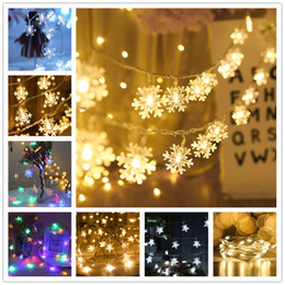 string light garland wholesale NZ - Christmas Decorations for Home LED Garland Holiday Snowflakes String Fairy Lights Ornaments Christmas Tree New Year Home Decor