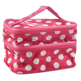 $enCountryForm.capitalKeyWord UK - Wholetide- Lovely Rose Red Unique Dots Pattern Double Layer Travel Makeup Cosmetic Bag Case